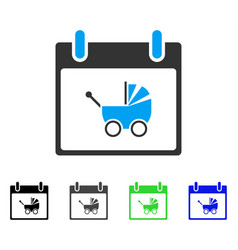 Baby carriage calendar day flat icon vector