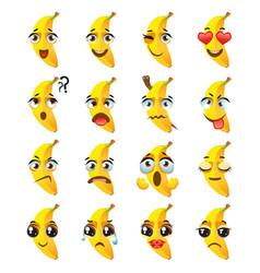 banana emoji emoticon expression funny cute food vector image