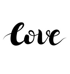 beautiful typography hand drawn word love vector image