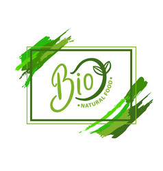 Bio natural food organic logo with green sprout vector