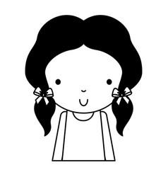 Black icon cute little girl cartoon vector