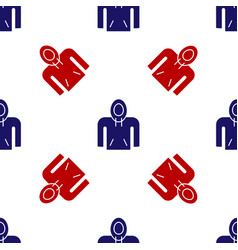 Blue and red hoodie icon isolated seamless pattern vector
