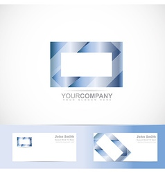 Blue rectangle 3d television logo vector