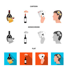 Bottle a glass of wine and cheese clogging with vector