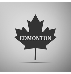 Canadian maple leaf with city name edmonton flat vector