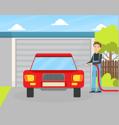 car wash service male worker character in vector image