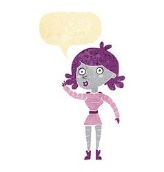 Cartoon robot woman waving with speech bubble vector
