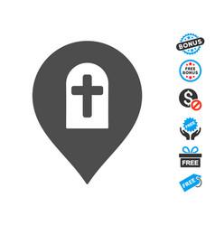 cemetery marker icon with free bonus vector image