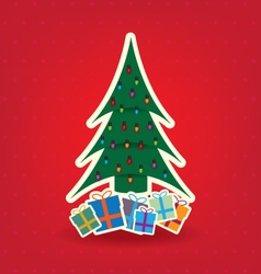 Christmas tree and bulb on red background vector image vector image