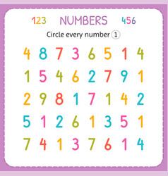 Circle every number one numbers for kids vector