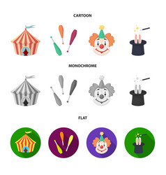 Circus tent juggler maces clown magician hat vector