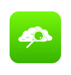 cloud with magnifying glass icon digital green vector image