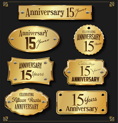 collection of anniversary retro gold labels 15 vector image