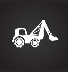 construction excavator truck on black background vector image