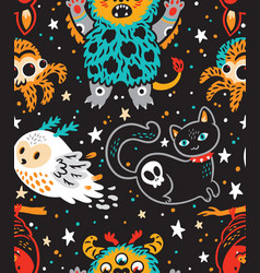 creative pattern with cartoon monster and vector image