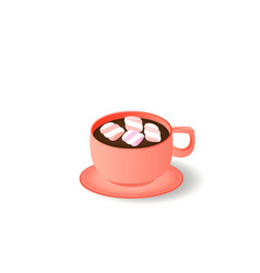 cup and saucer dark coffee with marshmallow vector image