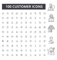customer line icons signs set outline vector image