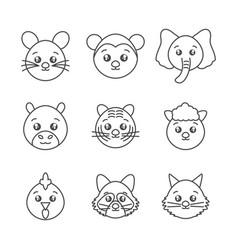 Cute animals head cartoon icons set line style vector