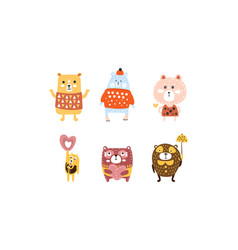 Cute bears set adorable animal childish prints vector