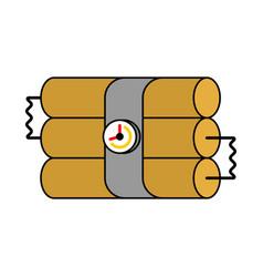 Dynamite sticks and clock tnt explosives bomb vector