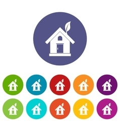 Eco house concept set icons vector image