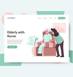 elderly with caregiver or nurse vector image