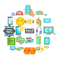 electronic commerce icons set cartoon style vector image