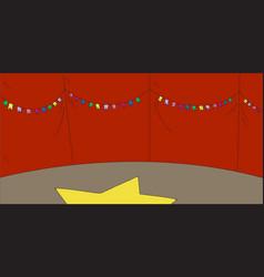Empty circus scene arena under tent with garland vector