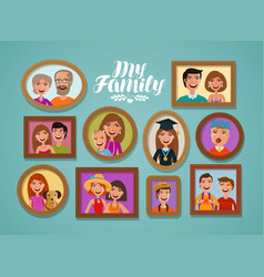 family photos in frames people parents and vector image