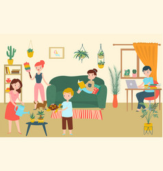 family relax room character father mother vector image