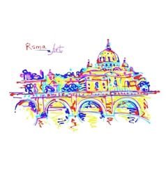 Famous place of Rome Italy original drawing in vector