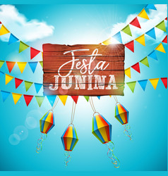 Festa junina with party flags and vector