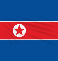 Flag north korea swaying in wind vector