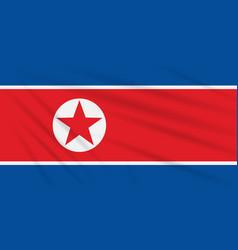 flag north korea swaying in wind vector image