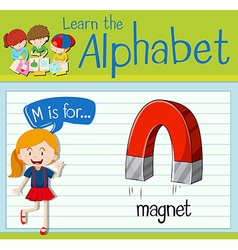 Flashcard letter M is for magnet vector