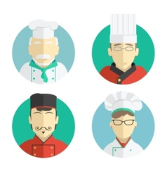 flat design chef icons vector image