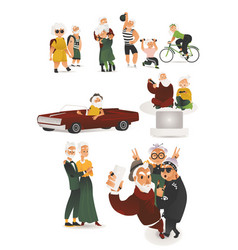 flat elderly people having fun hang out vector image