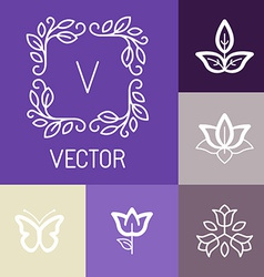 Floral logos in outline style vector