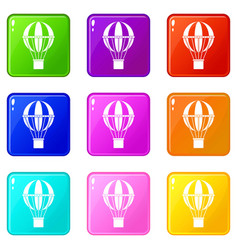 global travel concept icons 9 set vector image vector image