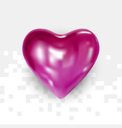 glossy pink heart for valentines day vector image