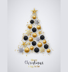 golden and black christmas balls bright vector image
