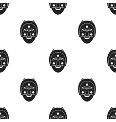 Hahoe mask icon in black style isolated on white vector image