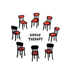 Hand drawn chairs arranged vector