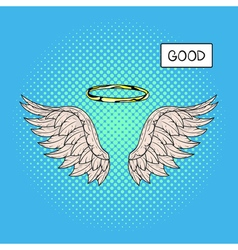hand drawn pop art of angel wings and nimbus or vector image