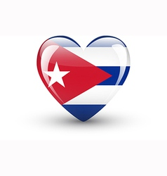 Heart-shaped icon with national flag of Cuba vector