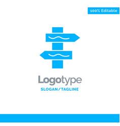 Index navigation road blue solid logo template vector
