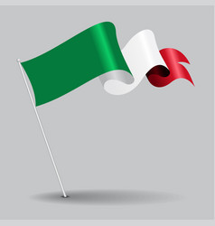 Italian pin wavy flag vector