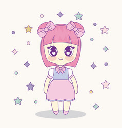 Kawaii anime girl design vector