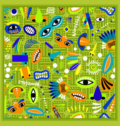 Kids green bandana with monster pattern vector