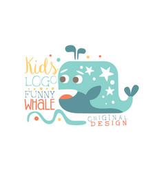 Kids logo original design funny whale baby shop vector